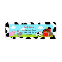 Barnyard Farm Animals Bard Return Address Labels