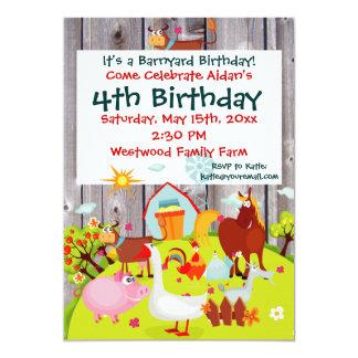 "Barnyard Farm Animals Barnwood Birthday Invitation 5"" X 7"" Invitation Card"