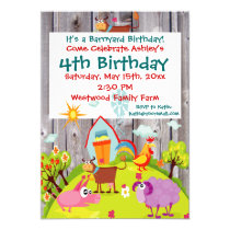 Barnyard Farm Animals Barnwood Birthday Invitation