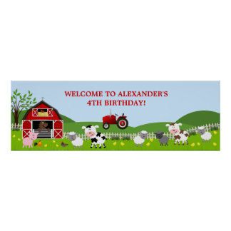 Barnyard Farm Animals Birthday Banner Poster