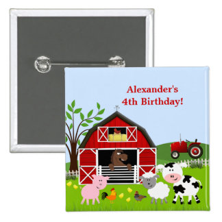 Barnyard Farm Animals Birthday Button