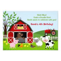 Barnyard Farm Animals Birthday Party Invitations