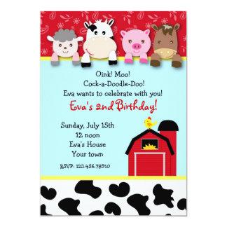 "Barnyard farm animals Birthday Party invitations 5"" X 7"" Invitation Card"