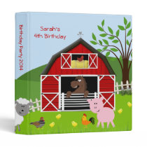 Barnyard Farm Animals Birthday Photo Album 3 Ring Binder