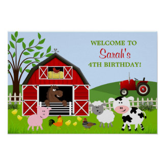 Barnyard Farm Animals Birthday Poster