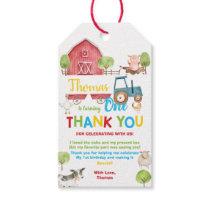 Barnyard Farm Animals Birthday Thank You Favor Gift Tags