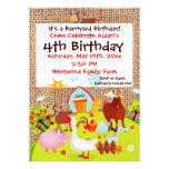Barnyard Farm Animals Burlap Birthday Invitation