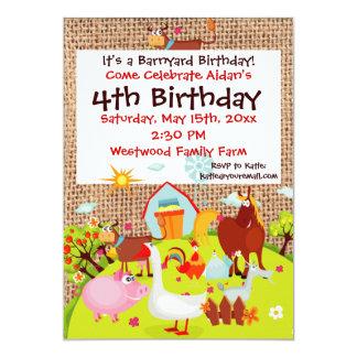 "Barnyard Farm Animals Burlap Birthday Invitation 5"" X 7"" Invitation Card"