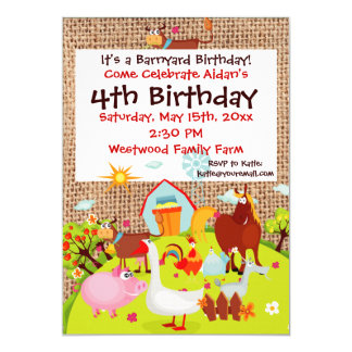 Barnyard Farm Animals Burlap Birthday Invitation