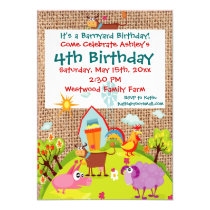 Barnyard Farm Animals Burlap Birthday Invitations