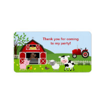 Barnyard Farm Animals Favor Tag Address Label