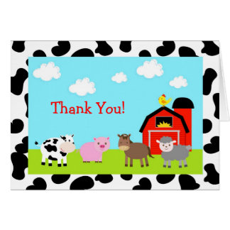 Barnyard Farm Animals Folded Thank You Note Cards