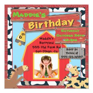 Barnyard Farm Animals Photo Insert Birthday Party 5.25x5.25 Square Paper Invitation Card
