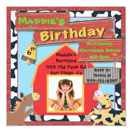 Barnyard Farm Animals Photo Insert Birthday Party Custom Invitations