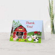 Barnyard Farm Animals Thank You Card