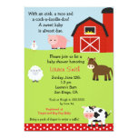 "Barnyard Farm Baby Shower Invitation 5"" X 7"" Invitation Card"