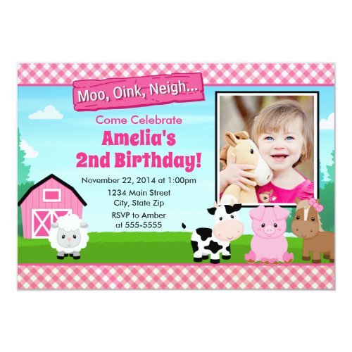 Barnyard Farm Birthday Girl Invitation Pink