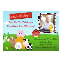 Barnyard Farm Birthday Invitation 5x7 Photo Card