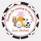 Barnyard Farm Birthday Party Favor Tag Sticker