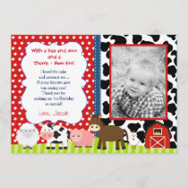 Barnyard Farm Birthday Thank You Note Cards
