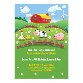 Barnyard Farm Kids Birthday Invitations 5