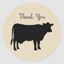 Barnyard Farm Party Cow Thank You Stickers