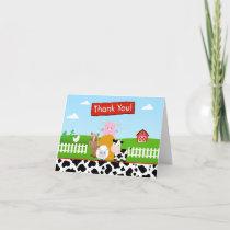 Barnyard Farm Thank You Card Folded Note Card