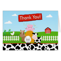 Barnyard Farm Thank You Card Folded Note Card