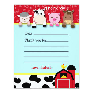 Barnyard Fill in the blank thank you note cards Custom Invite