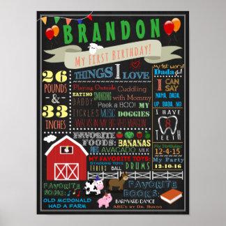 Barnyard First Birthday Poster