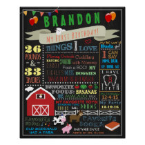 Barnyard First Birthday Poster 16x20