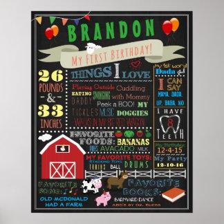 Barnyard First Birthday Poster 16x20