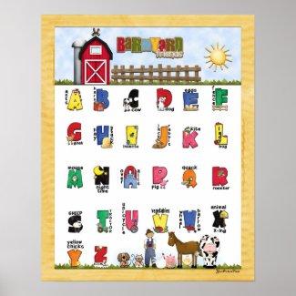 Barnyard Friends Alphabet Poster