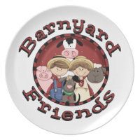 Barnyard Friends Melamine Plate