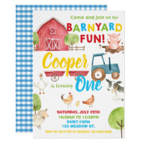 Barnyard Fun 1st Birthday Party Farm Animals Blue Invitation