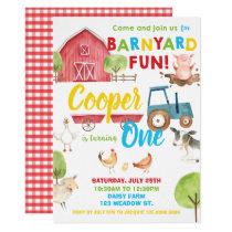 Barnyard Fun 1st Birthday Party Farm Animals Invitation