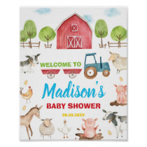 Barnyard Fun Party Farm Animal Baby Shower Welcome Poster