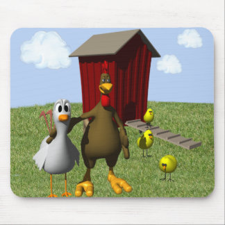 Barnyard Mouse Pad with Rooster Cows and Dog