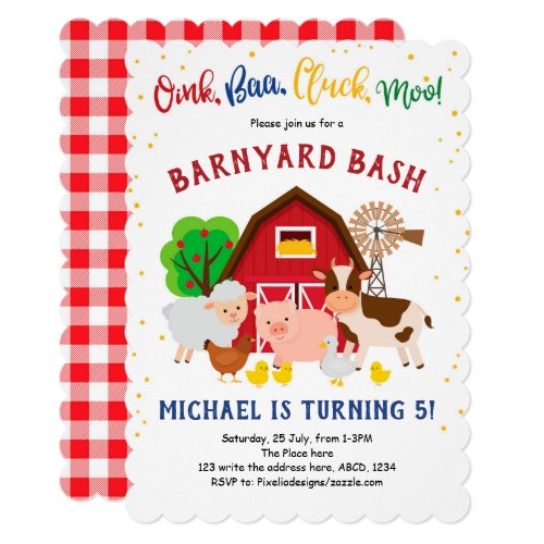 Barnyard, Petting Zoo, Farm Animals, Birthday Invitation
