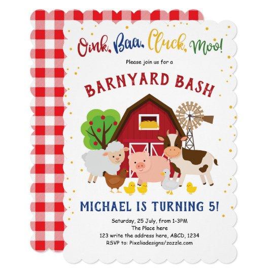 Barnyard Petting Zoo Farm Animals Birthday Invitation