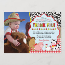 Barnyard Thank You Card with Photo | Farm Birthday