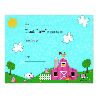 Barnyard Whimsy Fill-in-the Blank Thank You Card