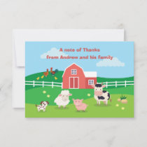 Barnyard with Animals Birthday Party Thank You Car