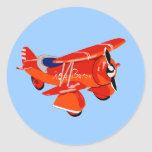 Barón rojo Biplane Etiqueta Redonda