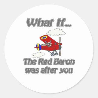 Barón rojo pegatina redonda