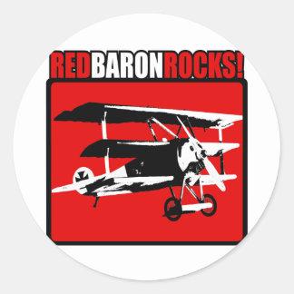 ¡Barón rojo Rocks! Pegatina Redonda