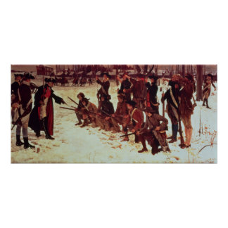 Baron von Steuben drilling American recruits Print