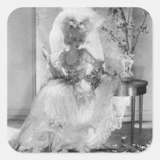 Baronesa en vestido de boda calcomanía cuadradas personalizadas