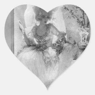 Baronesa en vestido de boda calcomanía de corazón
