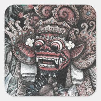 Barong y Rangda Bali Pegatina Cuadrada